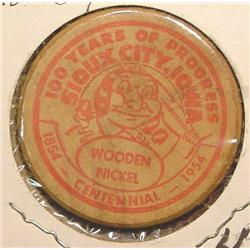 1854-1954 Sioux City, Iowa Wooden Nickel