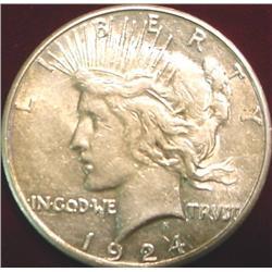 1924 S U.S. Peace Silver Dollar. EF
