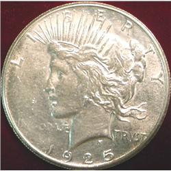 1925 S U.S. Peace Silver Dollar. EF