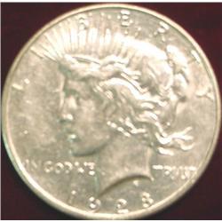 1928 S U.S. Peace Silver Dollar. EF