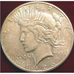 1926 S U.S. Peace Silver Dollar. VF