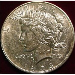 1926 D U.S. Peace Silver Dollar. EF