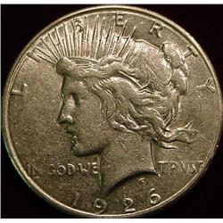 1926 S U.S. Peace Silver Dollar. EF
