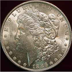 1886 P Morgan Silver Dollar. Brilliant Unc.