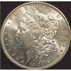 1881 S Morgan Silver Dollar. AU