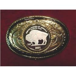 2001 Silver Buffalo U.S.A. Belt Buckle. New