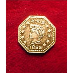 1855 California Gold Token. BU.