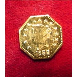 1855 California 1/2 Gold Token. BU.