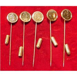 (5) Antique Pattern Gold Coin Stick Pins.
