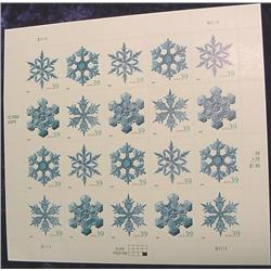 """Mint Sheet U.S. """"Snow Flakes"""" Stamps"""