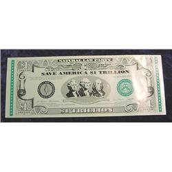 Natural Law Party $1 Trillion Banknote