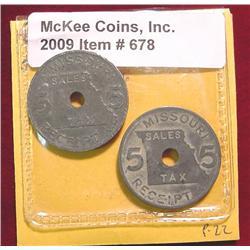 Missouri Tax Tokens. (2) 5 Mills Mo-6