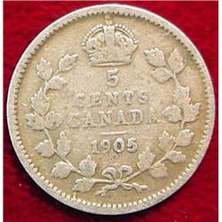 1905 Canada Five Cent Silver. G-4.