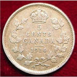 1914 Canada Five Cent Silver. VG-8.