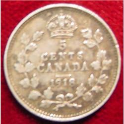 1918 Canada Five Cent Silver. F-12.