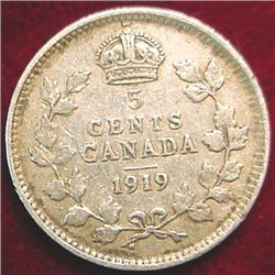 1919 Canada Five Cent Silver. VG-8