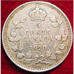 1920 Canada Five Cent Silver. F-12.