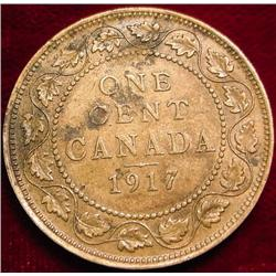 1917 Canada Large Cent. VG-F. Toned.