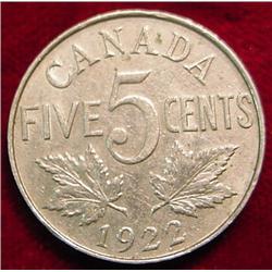 1922 Canada Nickel. F-12.