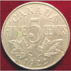 1922 Canada Nickel. VG-8.