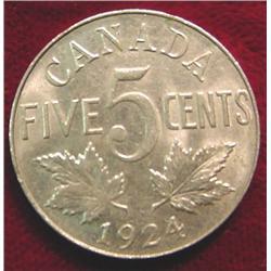 1924 Canada Nickel. AU.