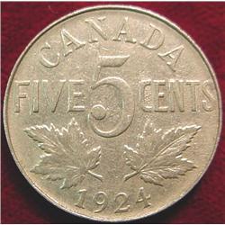 1924 Canada Nickel. VG-8.