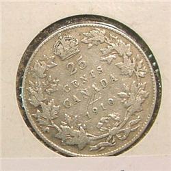 1910 Canada Quarter. G-4.