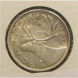 1938 Canada Quarter. VF.