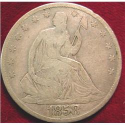 1858 O U.S. Seated Liberty Half Dollar.
