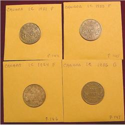 1921, 23, 24, & 26 Canada Cents. F-12.