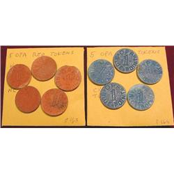 (5) Red & (5) Blue OPA Tokens.