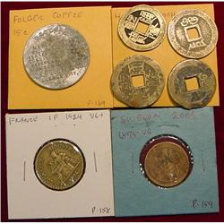(4) Chinese Cash Coins; 1924 France 1Fr