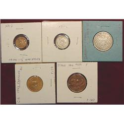 (5) Coins including Silver from Italy, Germany