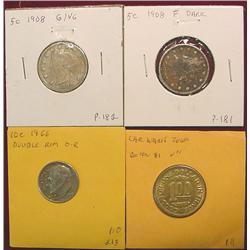(2) 1908 Liberty Nickels; 1966 Dime; & $1