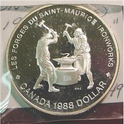 """1988 Canada """"Iron Works"""" Silver Dollar."""