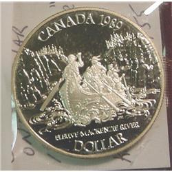 """1989 Canada """"Mackenzie River"""" Silver Dollar"""