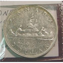 1961 Canada Silver Dollar. EF 40.