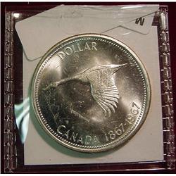 """1967 Canada """"Flying Goose"""" Silver Dollar"""