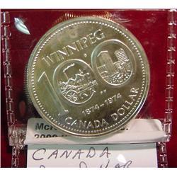 """1874-1974 Canada """"Winnipeg"""" Silver Dollar"""