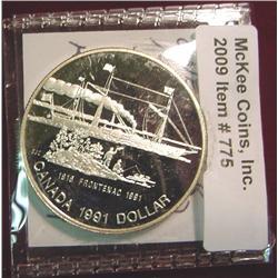 """1991 Canada """"Frontenac"""" Silver Dollar"""
