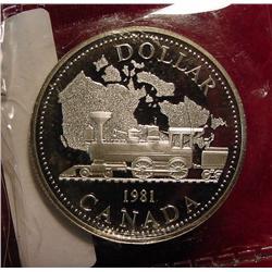 """1981 Canada """"Railroad"""" Silver Dollar"""