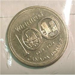"1874-1974 Canada ""Winnipeg"" Dollar. BU"