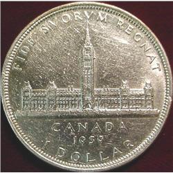 """1939 Canada """"Parliament"""" Silver Dollar AU"""