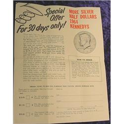 Tidy House Flyer for 1964 Kennedy Halves.