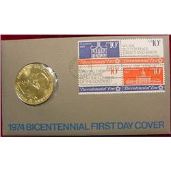1974 Biecentennial Medal & Cover.