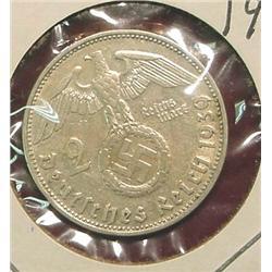 1939D German 2-Reichsmarks Silver.