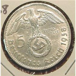 1938D German 5-Reichsmarks Silver.