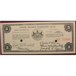 1933 Depression Script $5. Erie Pa.