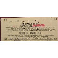 Depression Script, $1. Lowville N.Y.