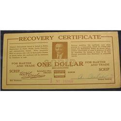 1933 Depression Script, $1. Chicago Ill.
